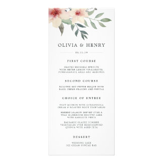 Peach Blossom Wedding Menu Card