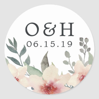 Peach Blossom Wedding Monogram & Date Classic Round Sticker
