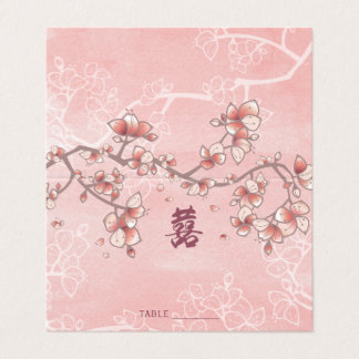 Peach Blossoms Double Happiness Chinese Wedding Place Card