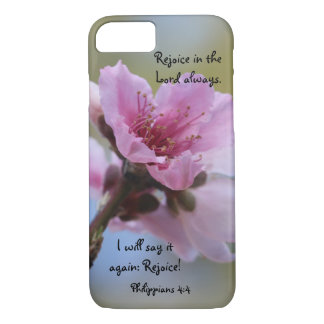 Peach Blossoms w/ Scripture Rejoice in the Lord! iPhone 7 Case