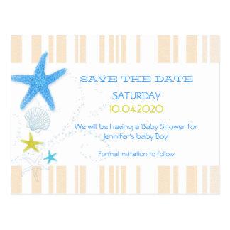 Peach + Blue Beach Baby Boy Shower Save the Date Postcard
