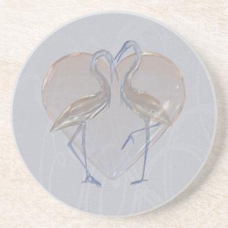 Peach & Blue Cranes Long & Happy Marriage Coaster