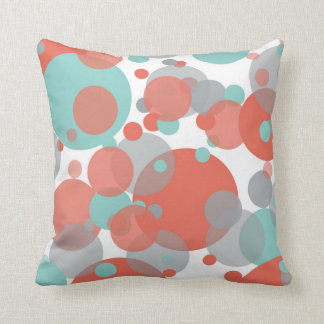 Peach Blue Grey Bubbles White Throw Pillow