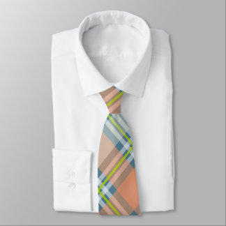 peach blue lime hipster plaid tie