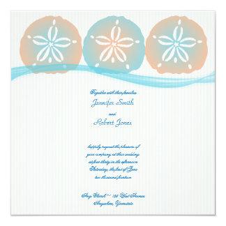 Peach Blue Sand Dollars Beach Wedding Invitation