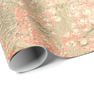 Peach Blush Gold Marble Shiny Metallic Glass Wrapping Paper