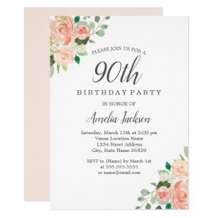 Peach Blush Watercolor Floral 90th Birthday Party Invitation