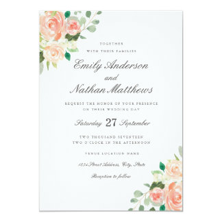 Peach Blush Watercolor Floral Wedding Invitation