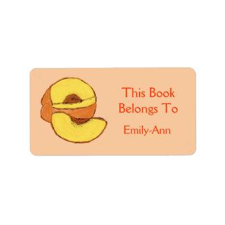 Peach Book Label Address Label