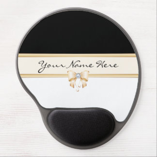 Peach Bow with Diamond on Black and White Gel Mouse Pad