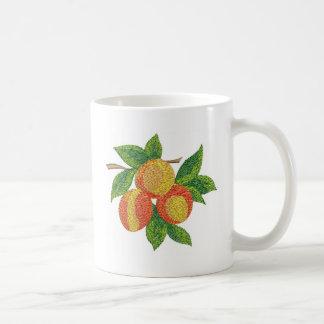 peach branch, imitation of embroidery coffee mug