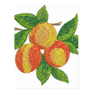 peach branch, imitation of embroidery postcard