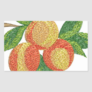 peach branch, imitation of embroidery rectangular sticker