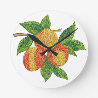 peach branch, imitation of embroidery round clock