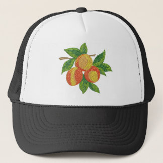 peach branch, imitation of embroidery trucker hat
