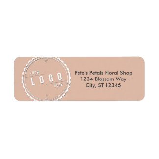 Peach Business Logo Address Labels