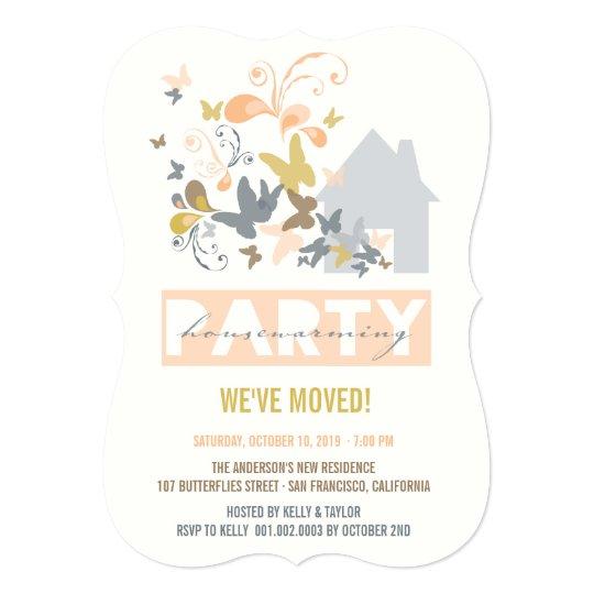 Peach Butterflies Burst House Warming Party Invite