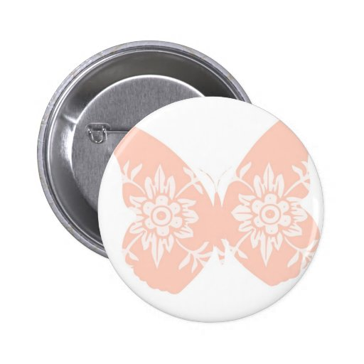 Peach Butterfly Floral Pinback Button
