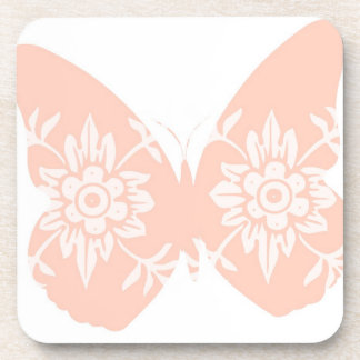 Peach Butterfly Floral Drink Coaster