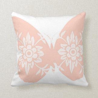 Peach Butterfly Floral Throw Pillows