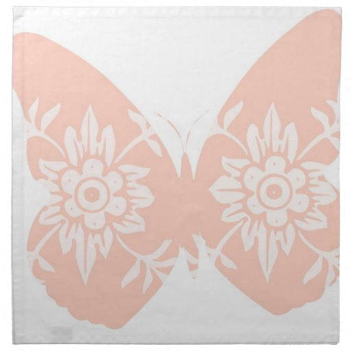 Peach Butterfly Floral Napkin
