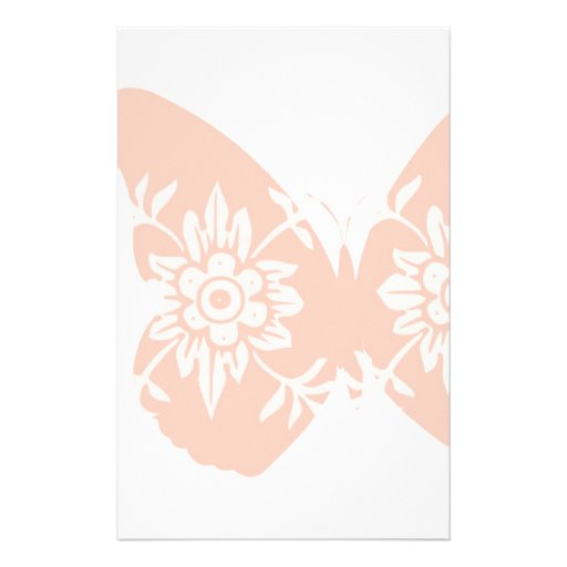 Peach Butterfly Floral Custom Stationery