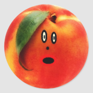 Peach Cartoon Face Round Sticker