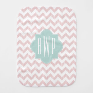 Peach Chevron Ikat Monogrammed Burp Cloth