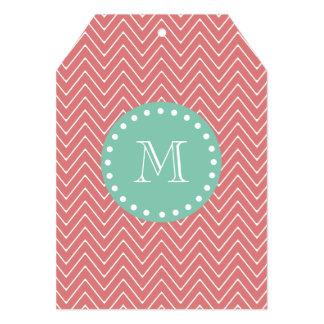 "Peach Chevron Pattern | Mint Green Monogram 5"" X 7"" Invitation Card"