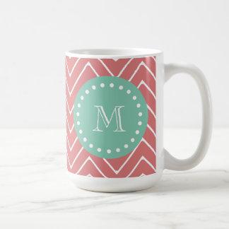 Peach Chevron Pattern   Mint Green Monogram Coffee Mugs