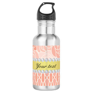 Peach Chrysanthemums Geometric Gold and Diamonds 532 Ml Water Bottle