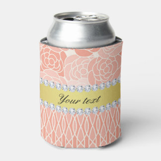 Peach Chrysanthemums Geometric Gold and Diamonds Can Cooler