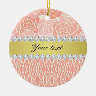 Peach Chrysanthemums Geometric Gold and Diamonds Ceramic Ornament