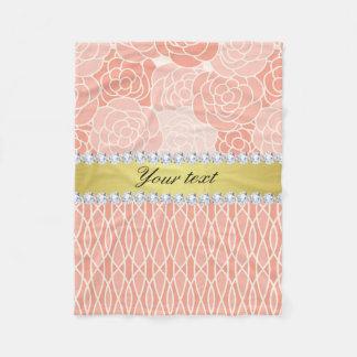 Peach Chrysanthemums Geometric Gold and Diamonds Fleece Blanket