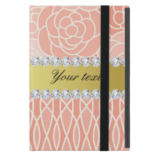 Peach Chrysanthemums Geometric Gold and Diamonds iPad Mini Cover