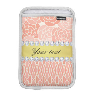 Peach Chrysanthemums Geometric Gold and Diamonds iPad Mini Sleeve