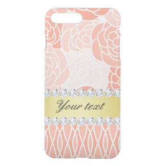 Peach Chrysanthemums Geometric Gold and Diamonds iPhone 7 Plus Case