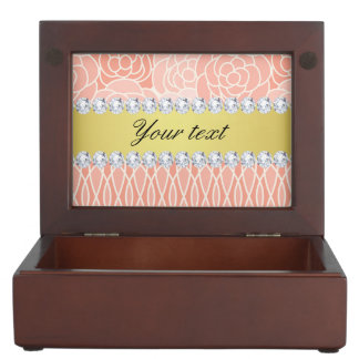 Peach Chrysanthemums Geometric Gold and Diamonds Keepsake Box