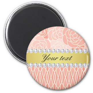 Peach Chrysanthemums Geometric Gold and Diamonds Magnet