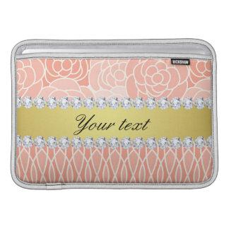 Peach Chrysanthemums Geometric Gold and Diamonds Sleeve For MacBook Air
