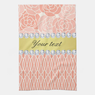 Peach Chrysanthemums Geometric Gold and Diamonds Tea Towel