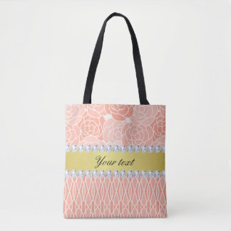 Peach Chrysanthemums Geometric Gold and Diamonds Tote Bag