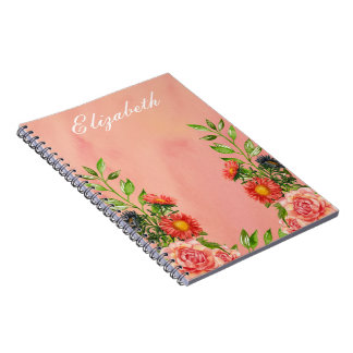 Peach Color Floral Watercolor Personlized Spiral Notebook
