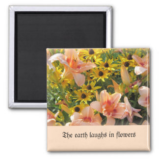 Peach Colored Day Lilies and Yellow Cone Flowers Magnet