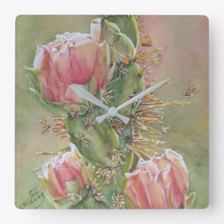 PEACH COLORED PEAR CACTUS FLOWERS SQUARE WALL CLOCK