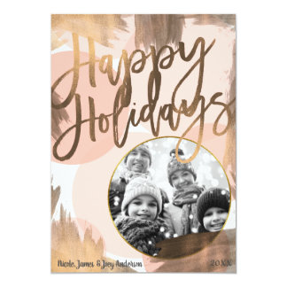 Peach & Copper Bronze Chic Modern Holiday Photo Card