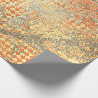 Peach Coral Gold Shiny Metallic Glass Strokes Wrapping Paper