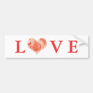 Peach Coral Rose Heart Love Bumper Sticker