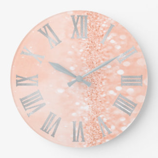 Peach Coral Silver Glitter Gray Roman Numbers Large Clock