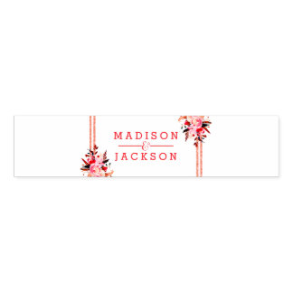 Peach & Coral Watercolor Floral Wedding Monogram Napkin Band